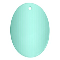 Classy Tiffany Aqua Blue Sailor Stripes Oval Ornament (Two Sides)
