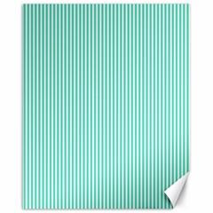 Classy Tiffany Aqua Blue Sailor Stripes Canvas 16  x 20