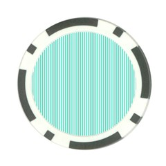 Classy Tiffany Aqua Blue Sailor Stripes Poker Chip Card Guard