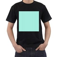 Classy Tiffany Aqua Blue Sailor Stripes Men s T Shirt (black)