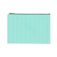 Classy Tiffany Aqua Blue Sailor Stripes Cosmetic Bag (Large)