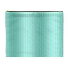 Classy Tiffany Aqua Blue Sailor Stripes Cosmetic Bag (XL)