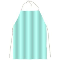 Classy Tiffany Aqua Blue Sailor Stripes Full Print Aprons