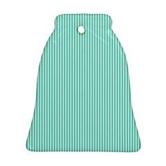 Classy Tiffany Aqua Blue Sailor Stripes Ornament (Bell)