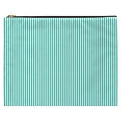 Classy Tiffany Aqua Blue Sailor Stripes Cosmetic Bag (XXXL)