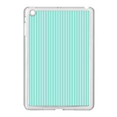 Classy Tiffany Aqua Blue Sailor Stripes Apple iPad Mini Case (White)