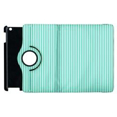 Classy Tiffany Aqua Blue Sailor Stripes Apple iPad 2 Flip 360 Case