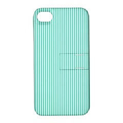Classy Tiffany Aqua Blue Sailor Stripes Apple iPhone 4/4S Hardshell Case with Stand