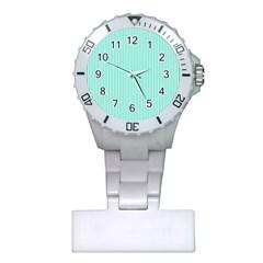 Classy Tiffany Aqua Blue Sailor Stripes Plastic Nurses Watch