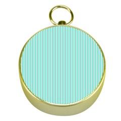 Classy Tiffany Aqua Blue Sailor Stripes Gold Compasses