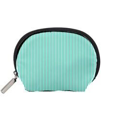 Classy Tiffany Aqua Blue Sailor Stripes Accessory Pouches (Small)