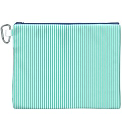 Classy Tiffany Aqua Blue Sailor Stripes Canvas Cosmetic Bag (xxxl)