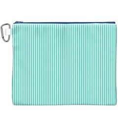 Classy Tiffany Aqua Blue Sailor Stripes Canvas Cosmetic Bag (XXXL)