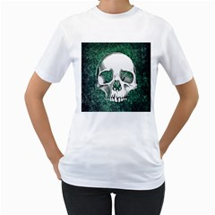 Green Skull Women s T-Shirt (White) (Two Sided)