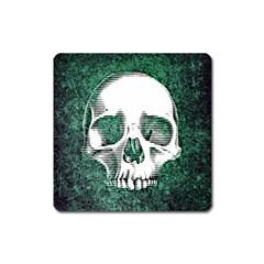 Green Skull Square Magnet