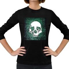 Green Skull Women s Long Sleeve Dark T-Shirts