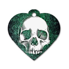 Green Skull Dog Tag Heart (One Side)