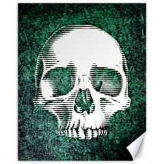 Green Skull Canvas 11  x 14