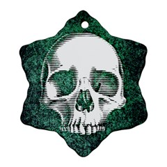 Green Skull Snowflake Ornament (Two Sides)