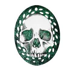 Green Skull Oval Filigree Ornament (Two Sides)