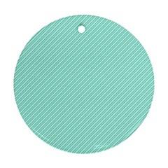 Tiffany Aqua Blue Deckchair Stripes Ornament (Round)