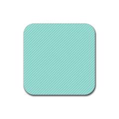 Tiffany Aqua Blue Deckchair Stripes Rubber Square Coaster (4 pack)