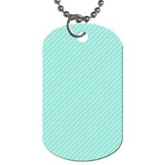 Tiffany Aqua Blue Deckchair Stripes Dog Tag (One Side)