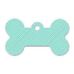 Tiffany Aqua Blue Deckchair Stripes Dog Tag Bone (One Side)