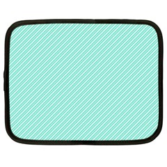 Tiffany Aqua Blue Deckchair Stripes Netbook Case (Large)