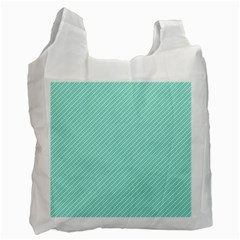 Tiffany Aqua Blue Deckchair Stripes Recycle Bag (One Side)