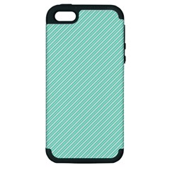 Tiffany Aqua Blue Deckchair Stripes Apple iPhone 5 Hardshell Case (PC+Silicone)