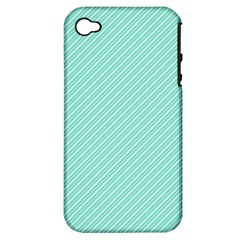 Tiffany Aqua Blue Deckchair Stripes Apple iPhone 4/4S Hardshell Case (PC+Silicone)
