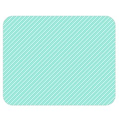 Tiffany Aqua Blue Deckchair Stripes Double Sided Flano Blanket (medium)