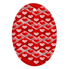 Hearts On Tile Ornament (Oval)