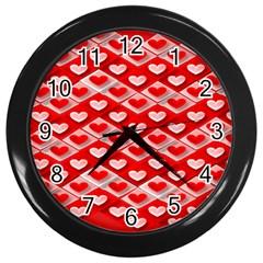 Hearts On Tile Wall Clocks (Black)