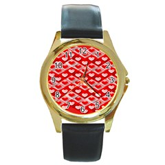 Hearts On Tile Round Gold Metal Watch