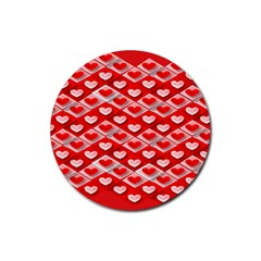Hearts On Tile Rubber Round Coaster (4 pack)