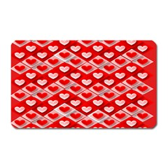 Hearts On Tile Magnet (Rectangular)