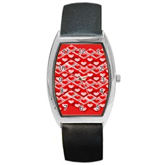 Hearts On Tile Barrel Style Metal Watch