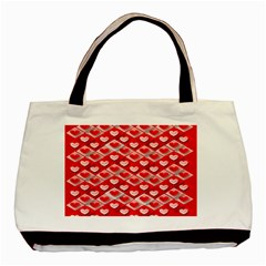 Hearts On Tile Basic Tote Bag (Two Sides)