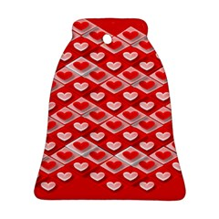 Hearts On Tile Bell Ornament (Two Sides)