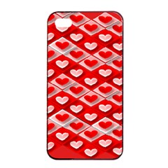 Hearts On Tile Apple iPhone 4/4s Seamless Case (Black)