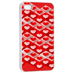 Hearts On Tile Apple iPhone 4/4s Seamless Case (White)