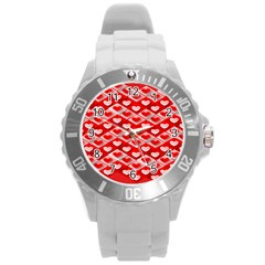 Hearts On Tile Round Plastic Sport Watch (L)