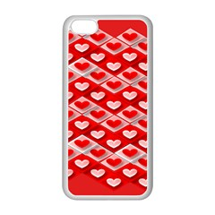 Hearts On Tile Apple iPhone 5C Seamless Case (White)