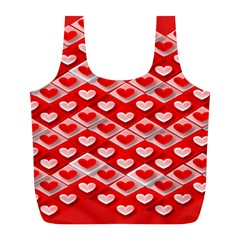 Hearts On Tile Full Print Recycle Bags (L)