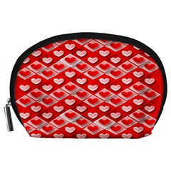 Hearts On Tile Accessory Pouches (Large)