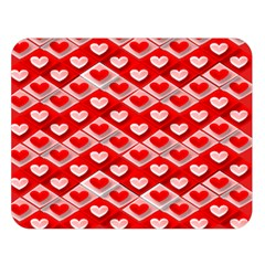 Hearts On Tile Double Sided Flano Blanket (Large)