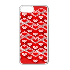 Hearts On Tile Apple iPhone 7 Plus White Seamless Case