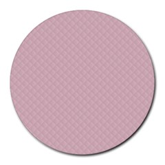 Baby Pink Stitched and Quilted Pattern Round Mousepads